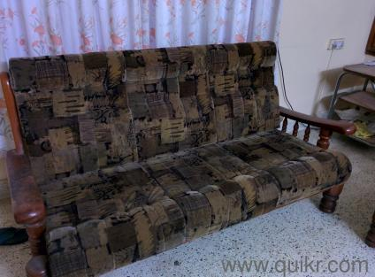 Complete teak wood sofa set with tea table for sale - Gently Home