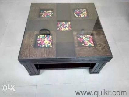 Wooden Center Table With Glass Top 36x36 Inch   Gently Home   Office  Furniture   Sector 108, Noida | QuikrGoods