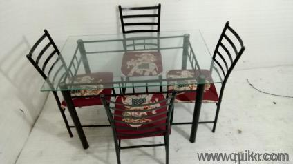4 Seater Glass Top Dining Table Set For Sale WITH EXPRESS BUY NOW DISCOUNT OF 200 EXTRA FLAT Of 350 Rs Limited O0ffer